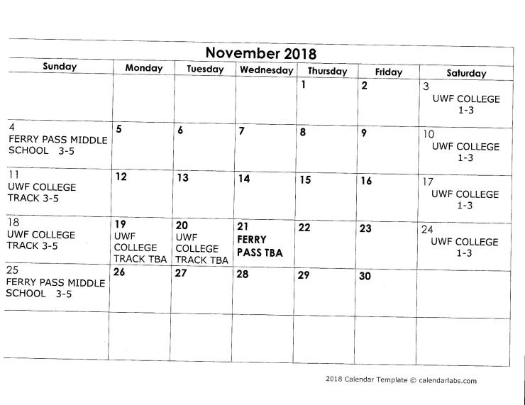 NOVEMBER OFF SEASON 2018 SCHEDULE